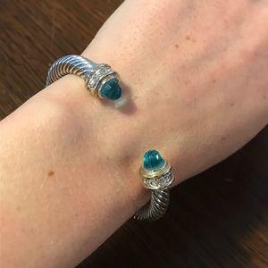 Jewelry - Mixed metal bangle bracelet with blue gem stone